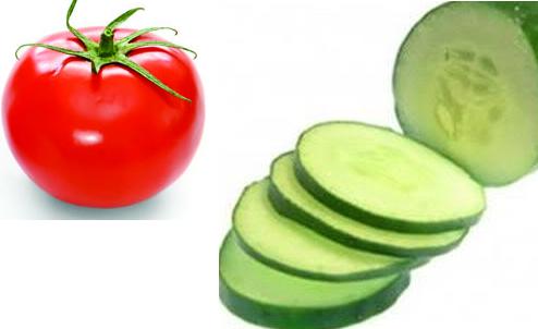 Hỗn hợp dưa chuột, cà chua trị sẹo, dưỡng da hiệu quả
